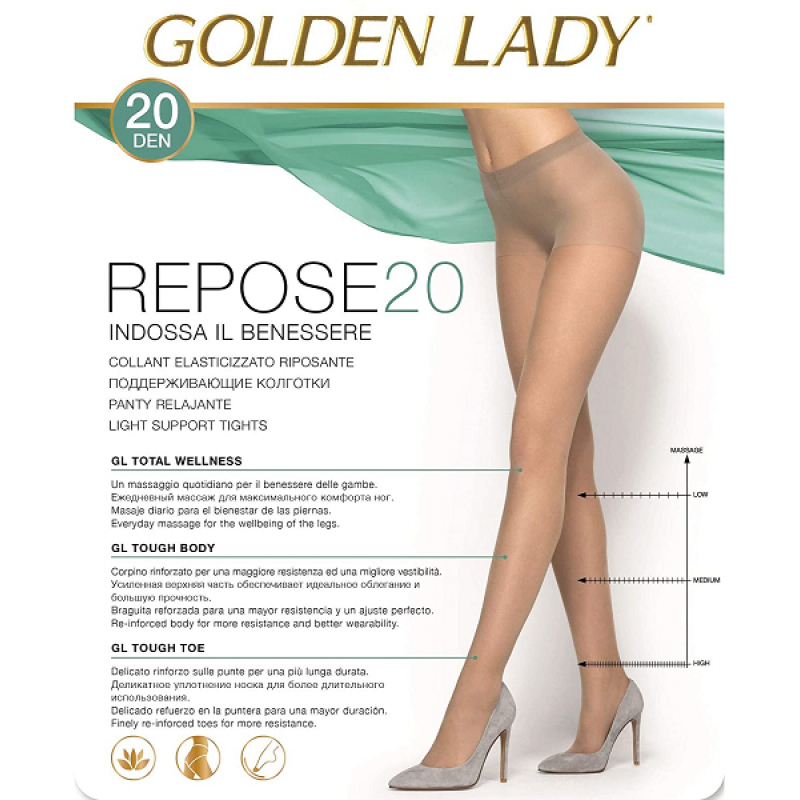 Golden Lady repose dres 20 den negru talia 3