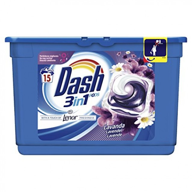 Dash detergent pernute lavanda 3in1 15 buc