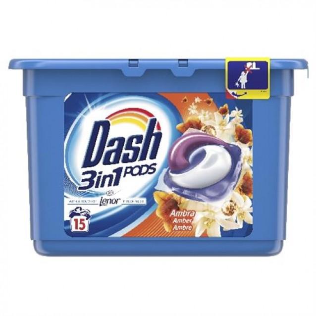 Detergent pernute 3 in 1 Dash ambra 15 buc