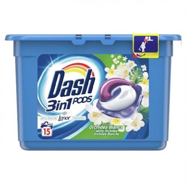 Detergent pernute 3 in 1 Dash orhidee alba 15 buc