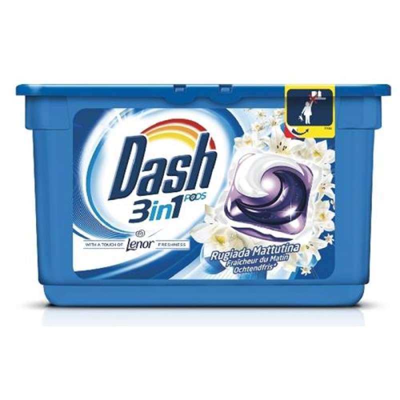 Detergent pernute 3 in 1 Dash rugiada mattutina 15 buc